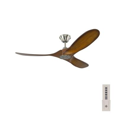 Maverick II 52 in. Indoor/Outdoor Brushed Steel Ceiling Fan with Koa Balsa Blades, DC Motor and 6-Speed Remote Control
