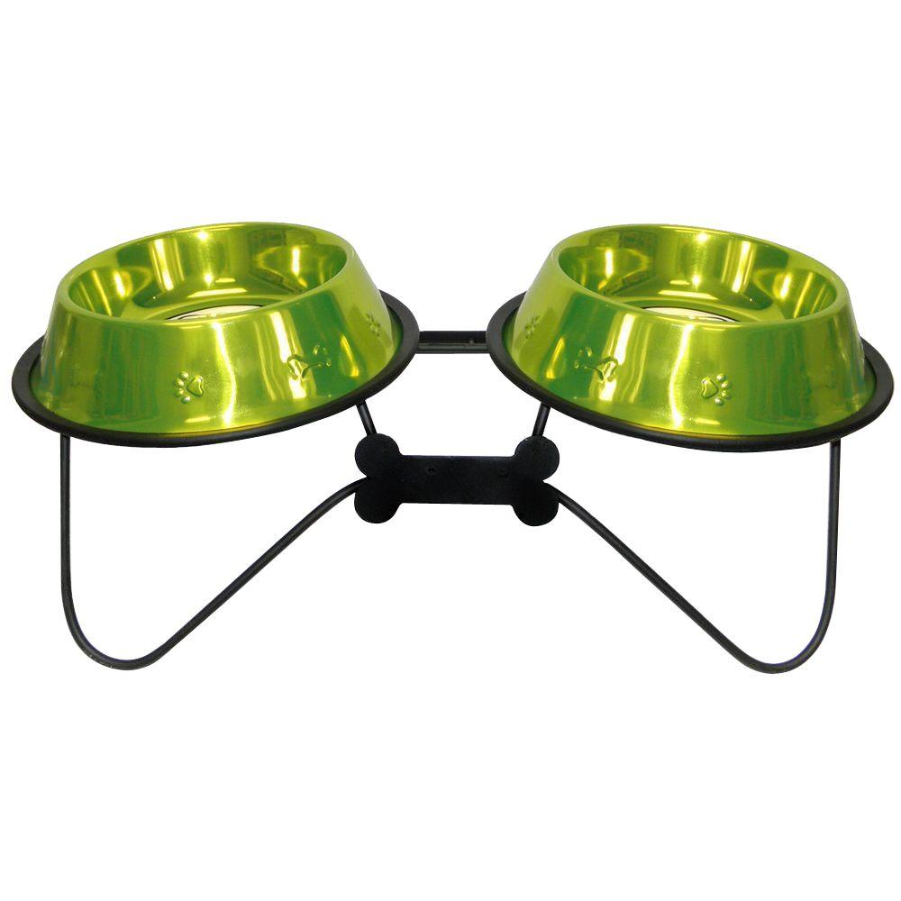 Platinum Pets 4 Cup Wrought Iron Bone-Tie Double Feeder with Embossed Non-Tip Bowls in Lime