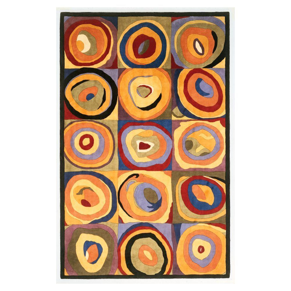 Kas Rugs Circle Abstract Multi 8 ft. x 11 ft. Area Rug