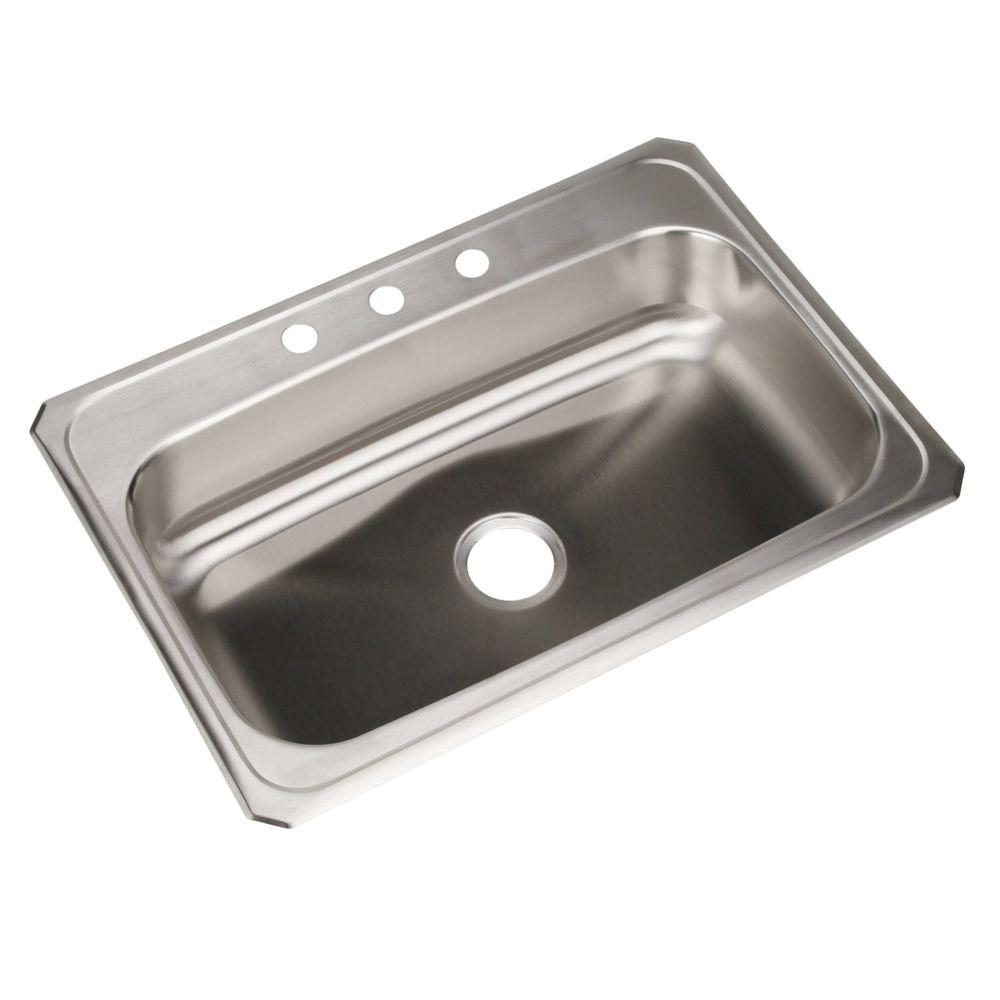 Elkay  Gauge Single Basin Drop In Stainless Steel Kitchen Sink