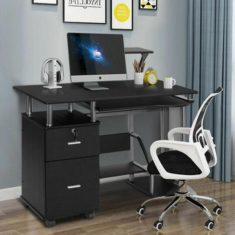 Computer Desk PC Table Office Desk Workstation 4 Home Office Furniture in Oak