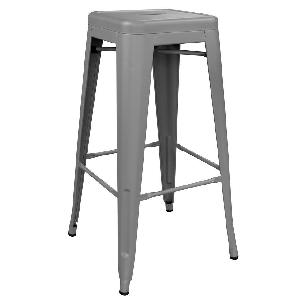 AmeriHome Loft Series 30 in. Indoor/Outdoor Stackable Anti-Rust Coated Metal Bar Stool in Gray was $85.99 now $57.8 (33.0% off)