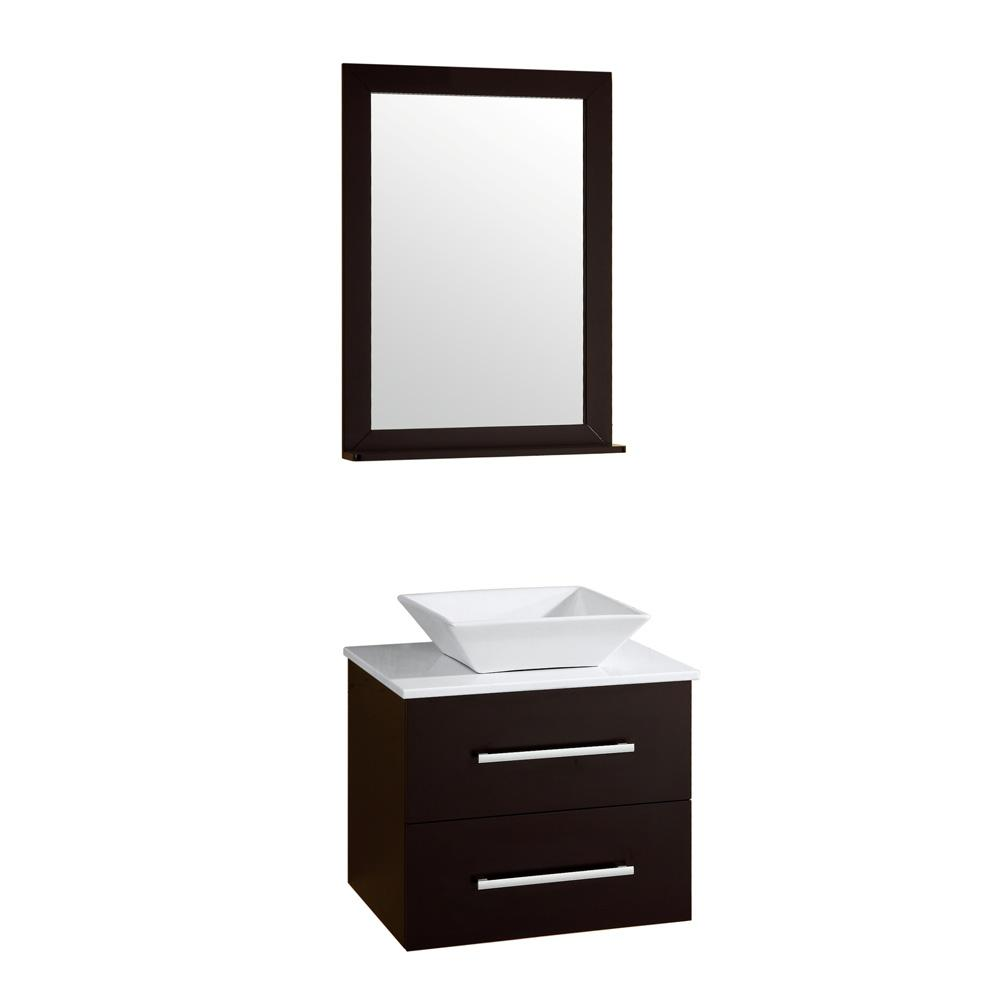 Alicia 24 in. 4-Piece PVC Floating Vanity Set with Ceramic Vessel,