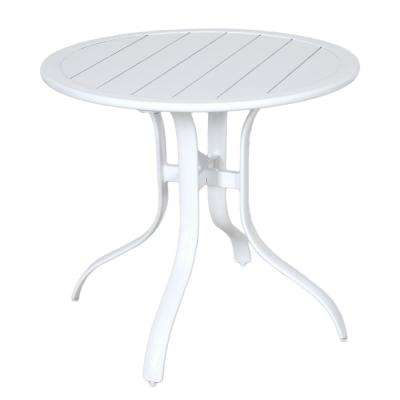 Commercial Aluminum 30 in. Outdoor Slat Top Bistro Table in White