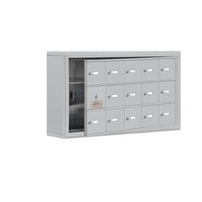 19100 Series 37 in. W x 20 in. H x 6.25 in. D 14 Doors Cell Phone Locker S-Mount Keyed Locks in Aluminum