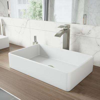 Magnolia Matte Stone Vessel Sink in White with Duris Vessel Faucet in Brushed Nickel