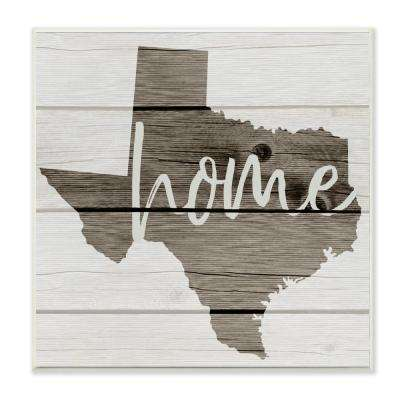 """12 in. x 12 in. """"Texas Home Typography Map"""" by Daphne Polselli Printed Wood Wall Art"""