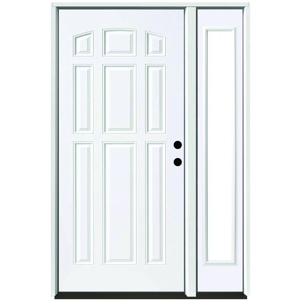 Steves sons 51 in x 80 in 9 panel primed white left hand steel prehung front door with 12 in for White exterior door with glass