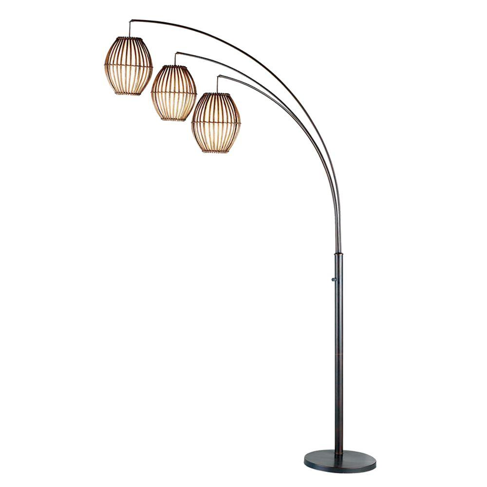 Details About Adesso Arc Floor Lamp Maui Adjustable Heads Bright Led Antique Bronze 82 In