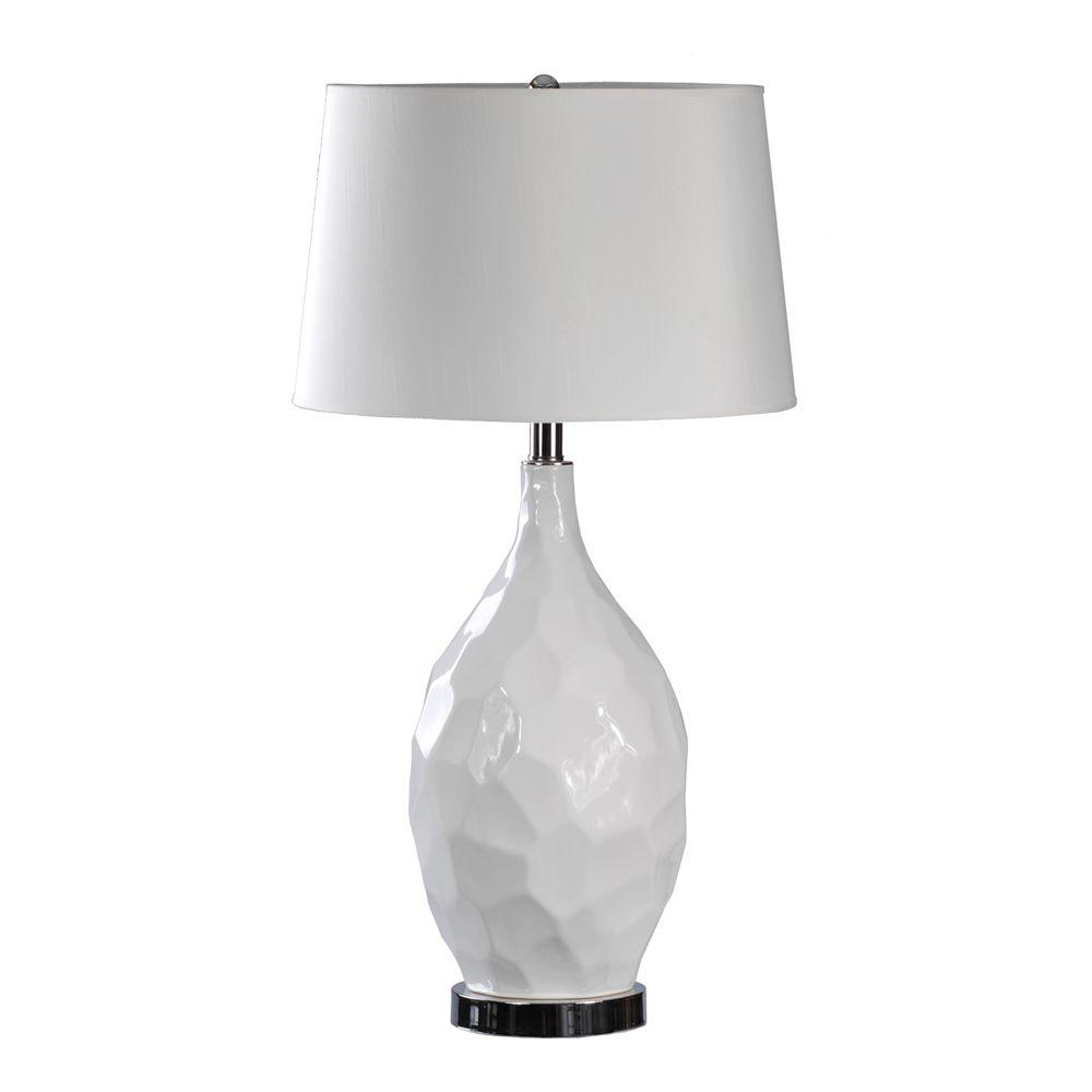 Absolute Decor 30 in. Gloss White Ceramic and Chrome Metal Table Lamp-DISCONTINUED
