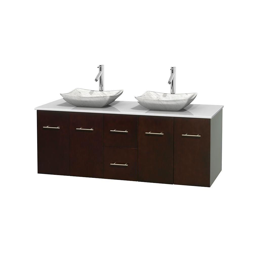 Centra 60 in. Double Vanity in Espresso with Solid-Surface Vanity Top