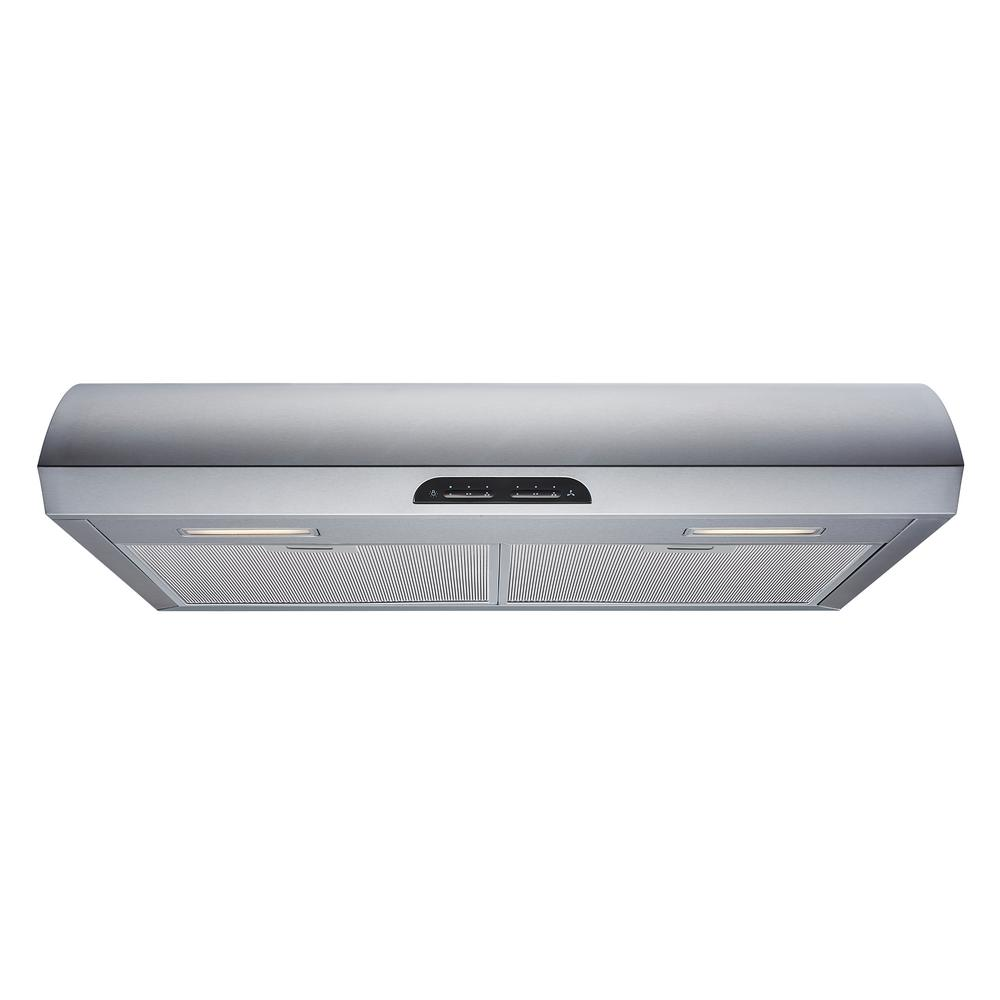 Winflo 30 In 480 Cfm Convertible Under Cabinet Range Hood In Stainless Steel With Mesh Filters And Touch Sensor Controls Ur022b30 The Home Depot