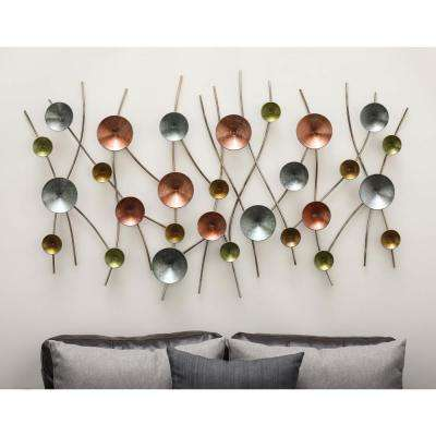 56 in. x 32 in. Modern Iron Discs and Lines Wall Decor in Gold, Iron Gray and Turquoise