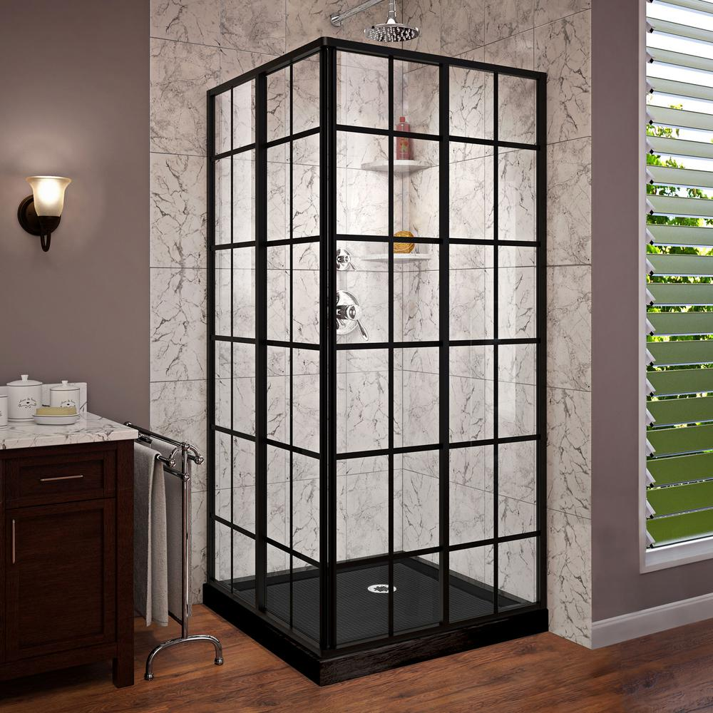DreamLine French Corner 36 in. W x 36 in. D x 74.75 in. H Framed Shower Enclosure and Shower Base Kit in Satin Black
