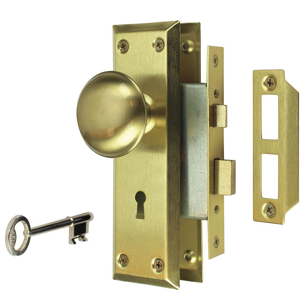 Bon Satin Brass Victorian Door Knob Mortise Lock Set