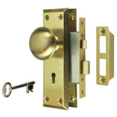 Satin Brass Victorian Door Knob Mortise Lock Set