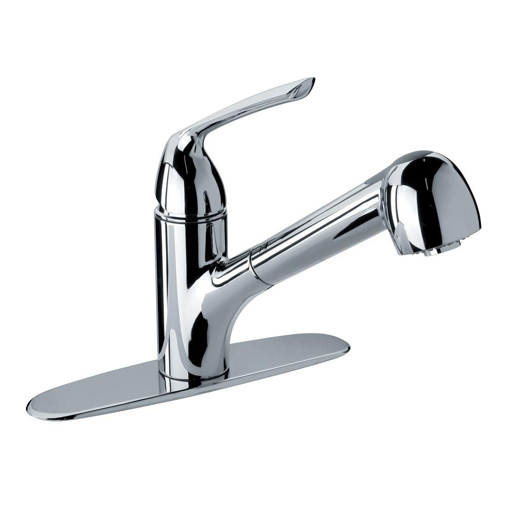 Glacier Bay Milano Single Handle Pull Out Sprayer Kitchen Faucet In