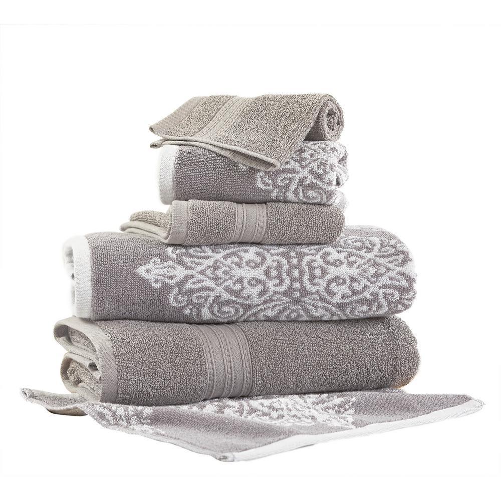 Artesia Damask 6-Piece Cotton Bath Towel Set in Gray