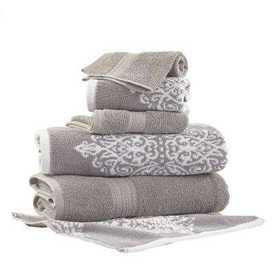 Artesia Damask 6-Piece Cotton Bath Towel Set in Gray