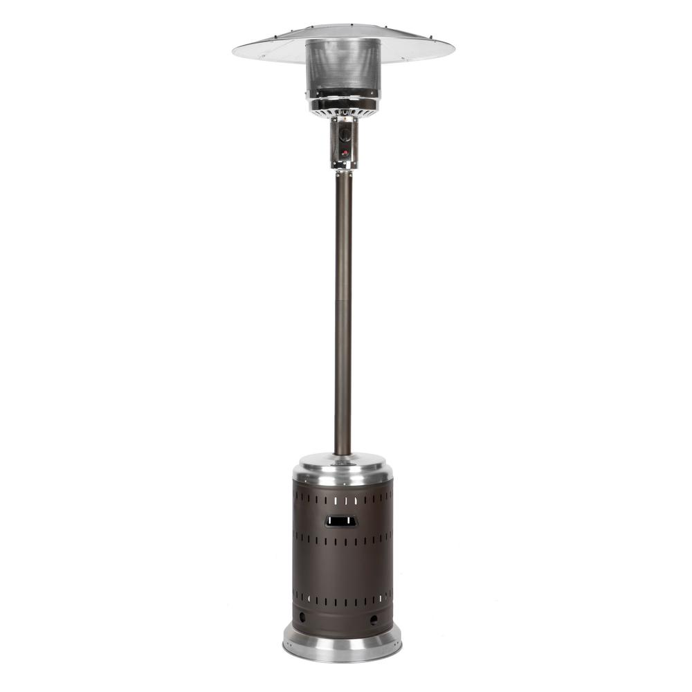 46 000 Btu Mocha And Stainless Steel Propane Gas Commercial Patio Heater