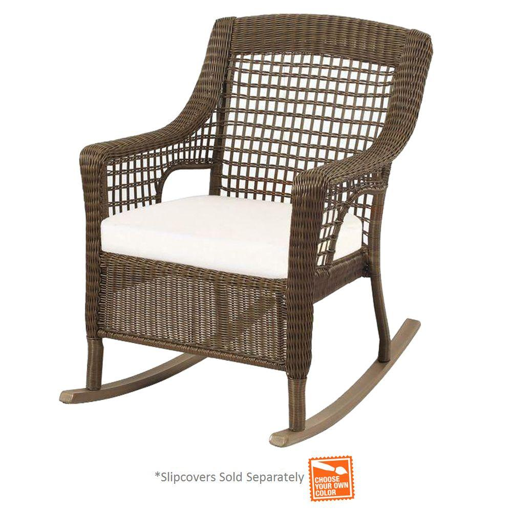 Spring Haven Grey Wicker Outdoor Patio Rocking Chair With Cushion Insert