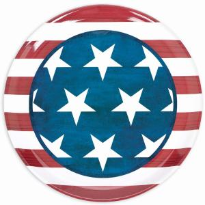 Click here to buy Amscan 13.5 inch Patriotic Round Platter (4-Pack) by Amscan.