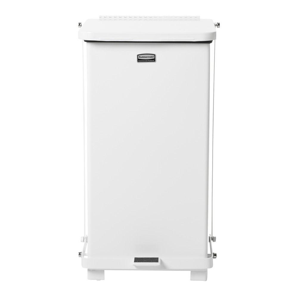 Rubbermaid Commercial Products Defenders 12 gal. White Square Steel Step-On Trash Can
