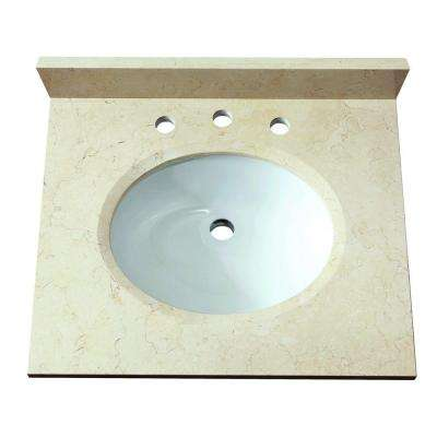 25 in. Marble Stone Vanity Top in Beige without Basin