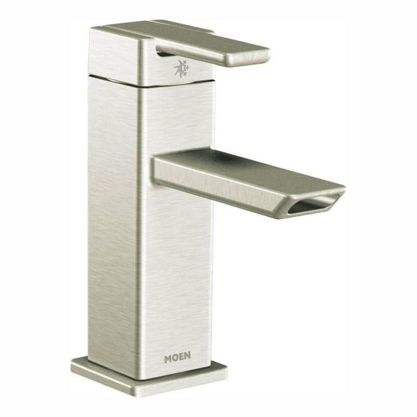 90 Degree Single Hole Single-Handle Low-Arc Bathroom Faucet in Brushed Nickel