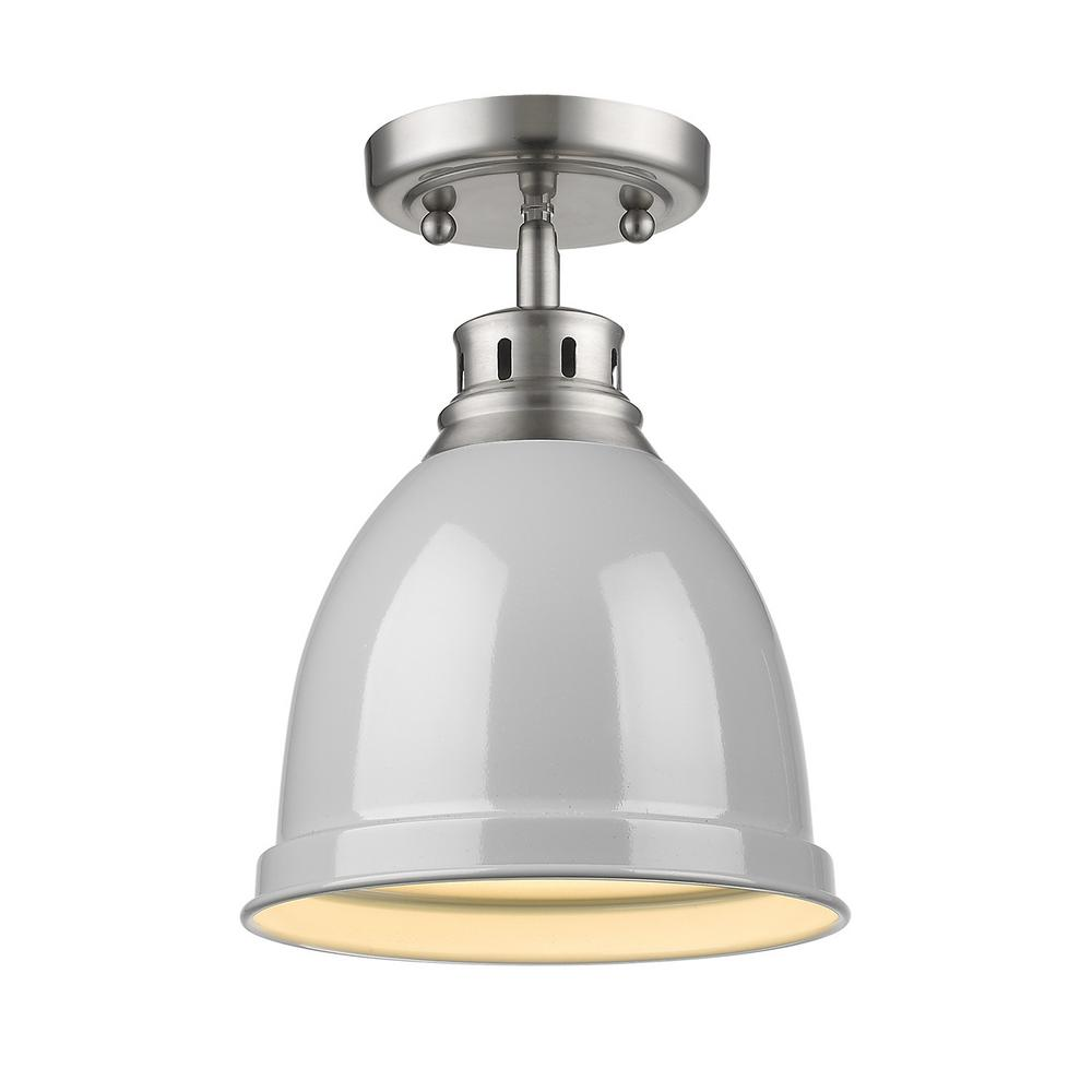 Golden Lighting Duncan Collection 1-Light Pewter Flush Mount with Gray Shade