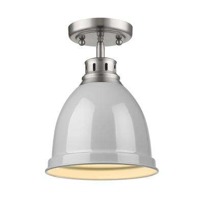 Duncan Collection 1-Light Pewter Flush Mount with Gray Shade