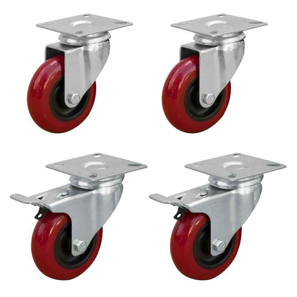 2 in. Swivel PU Plate Casters Red (4-Pack)
