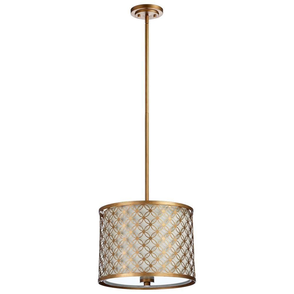 Filament Design Prospect 3-Light Gold Leaf Retro Art Pendant