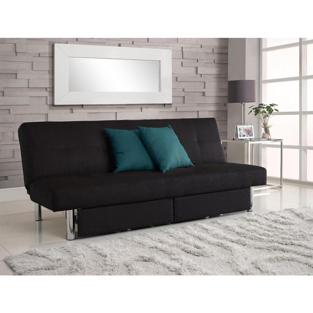 black sola sleeper and storage futon futon set   futons  u0026 sofa beds   living room furniture   the home      rh   homedepot