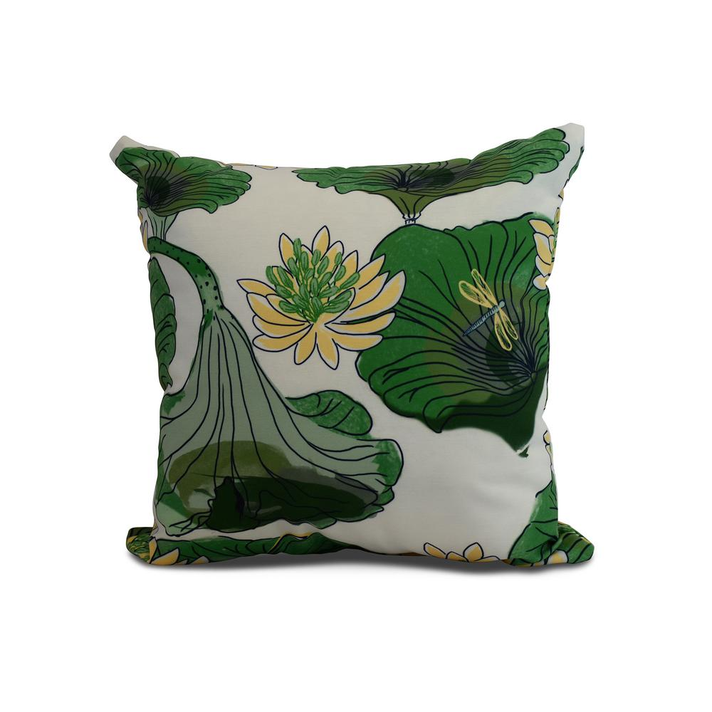 Lotokoi 16 in. Green Decorative Floral Throw Pillow