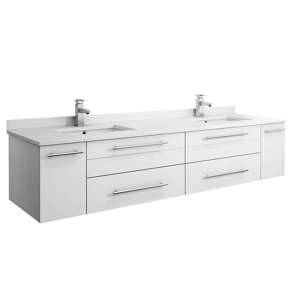 Fresca Lucera 72 in. W Wall Hung Bath Vanity in White with Quartz Stone Double Sink Vanity Top in White with White Basins