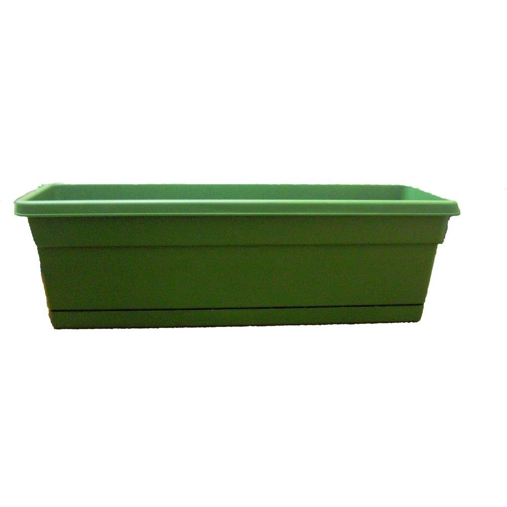 ames 8 in x 24 in green plastic window box 2801 the home depot
