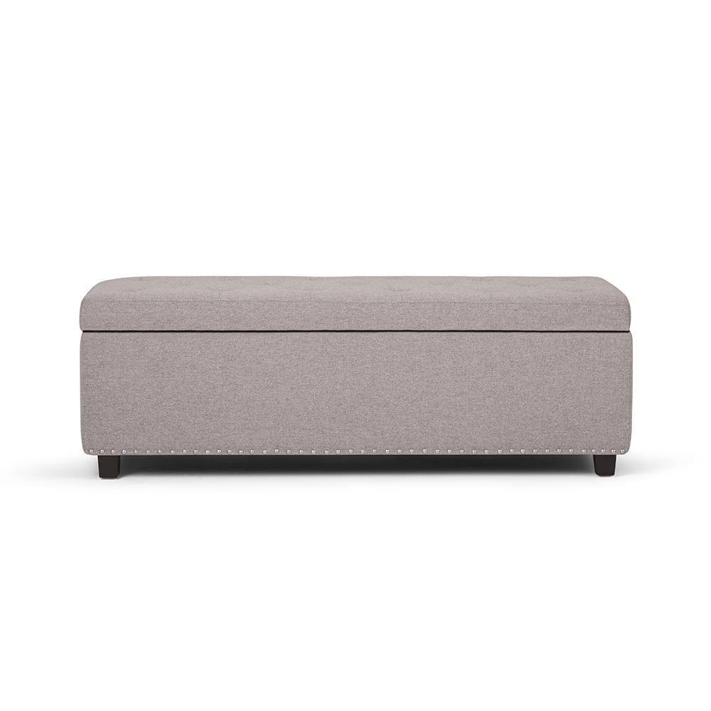 simpli home hamilton cloud grey large storage ottoman bench 3axcot 239 clg the home depot. Black Bedroom Furniture Sets. Home Design Ideas