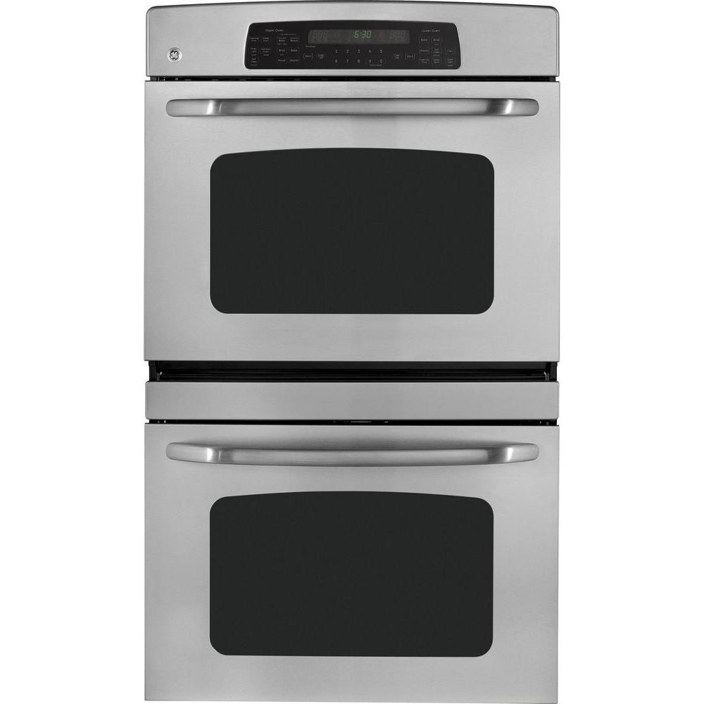 GE 30 in. Double Electric Wall Oven Plus Self-Cleaning with Convection in Stainless Steel