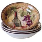 Gilded Wine 9.25 in. x 1.5 in. Multi-Colored Soup/Pasta Bowl (Set of 4)