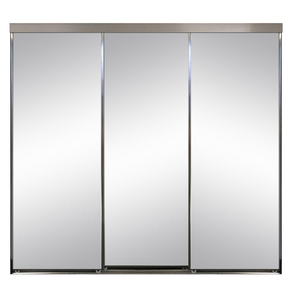 Impact Plus 108 In X 96 In Polished Edge Mirror Framed With Gasket Interior Closet Sliding Door With Chrome Trim S293 10896c The Home Depot