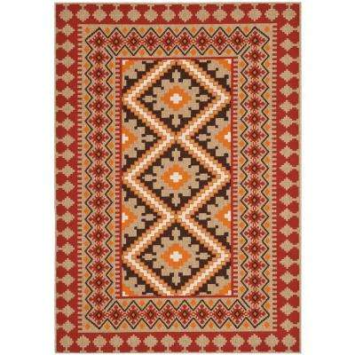 Awesome Veranda Red/Natural 6 Ft. 7 In. X 9 Ft. 6 In