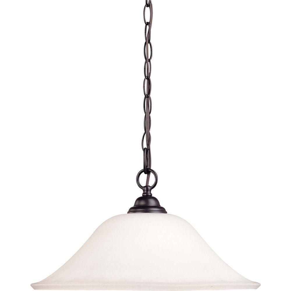 1-Light Dark Chocolate Bronze Hanging Dome with Satin White Glass