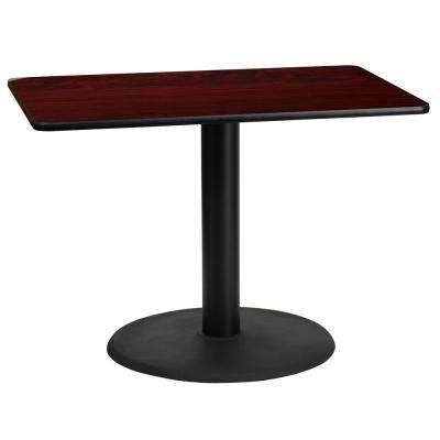 24 in. x 42 in. Rectangular Mahogany Laminate Table Top with 24 in. Round Table Height Base
