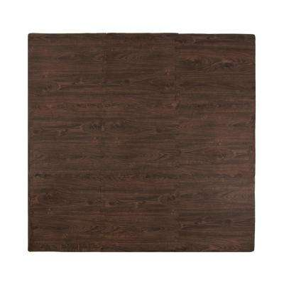 Wood Grain Cherry 56 in. x 56 in. EVA Floor Mat Set