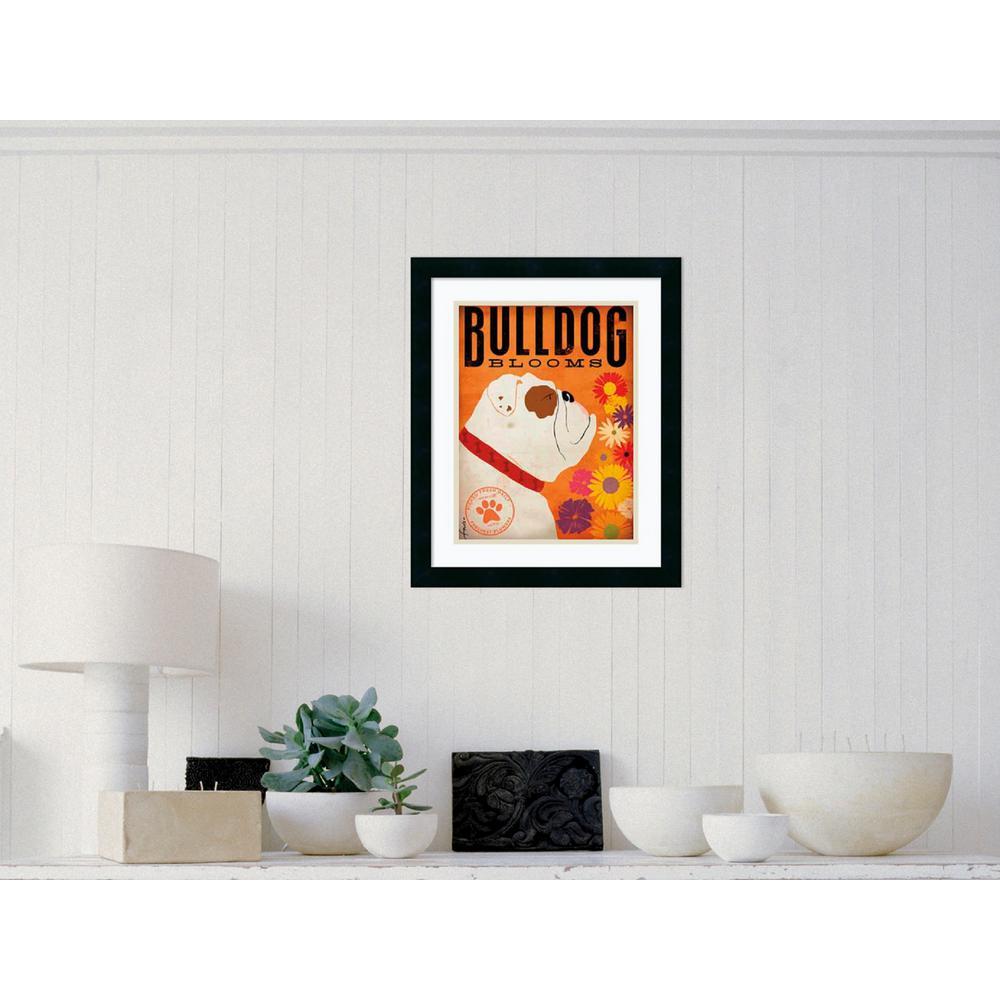 "18 in. W x 22 in. H ""Bulldog Blooms"" by Stephen Fowler Framed Art Print"