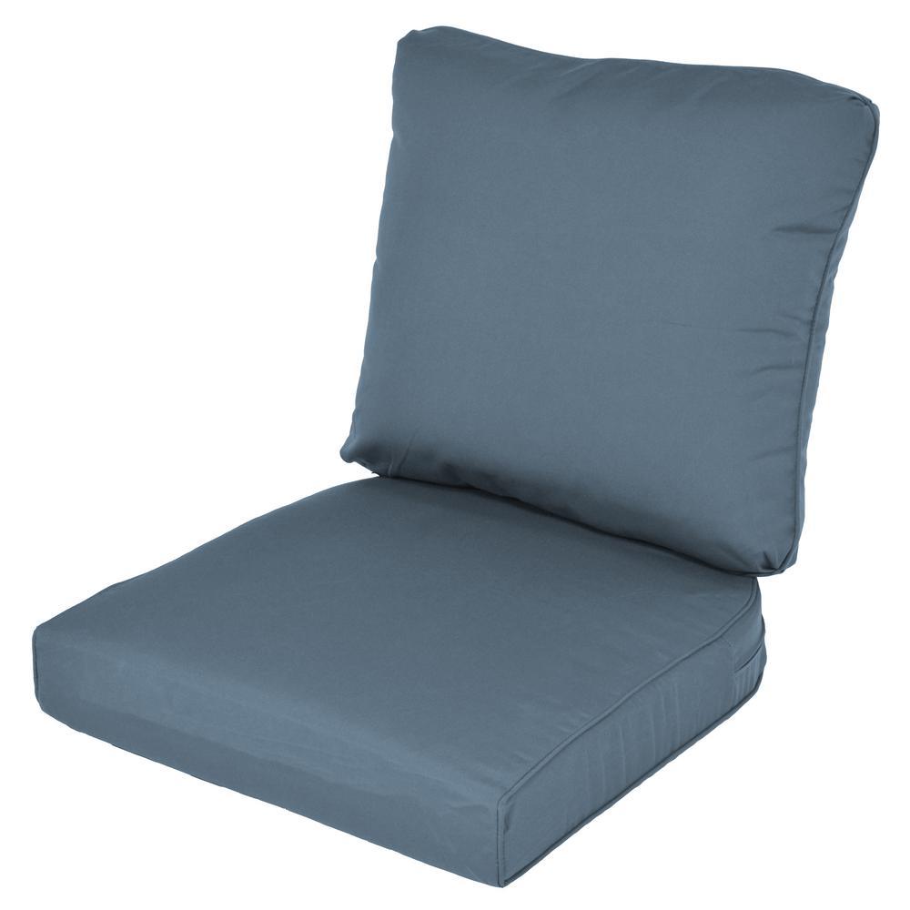 Lemon Grove Sunbrella Canvas Sapphire Replacement 2 Piece Outdoor Dining Chair  Cushion