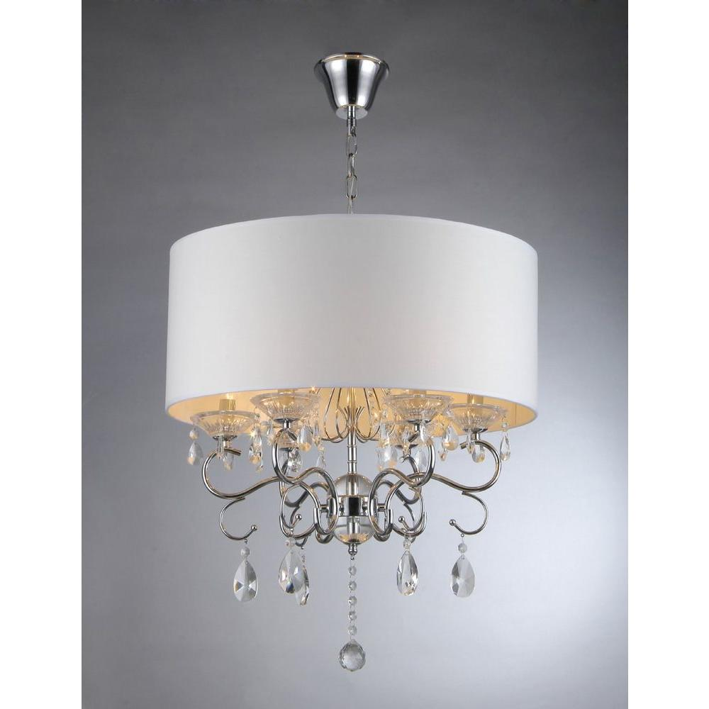 Warehouse Of Tiffany Camilla 6 Light Chrome Crystal Chandelier With Fabric  Shade