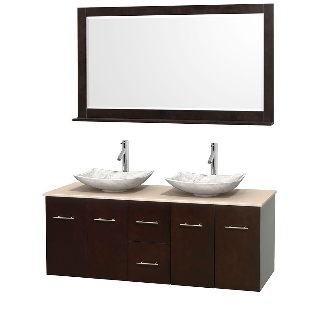 Wyndham Collection Centra 60 in. Double Vanity in Espresso with Marble Vanity Top in Ivory, Carrara White Marble Sinks and 58 in. Mirror