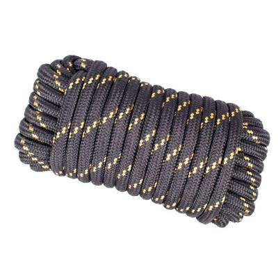 1/2 in. x 50 ft. Heavy Duty Diamond Braid Polypropylene Rope - Black